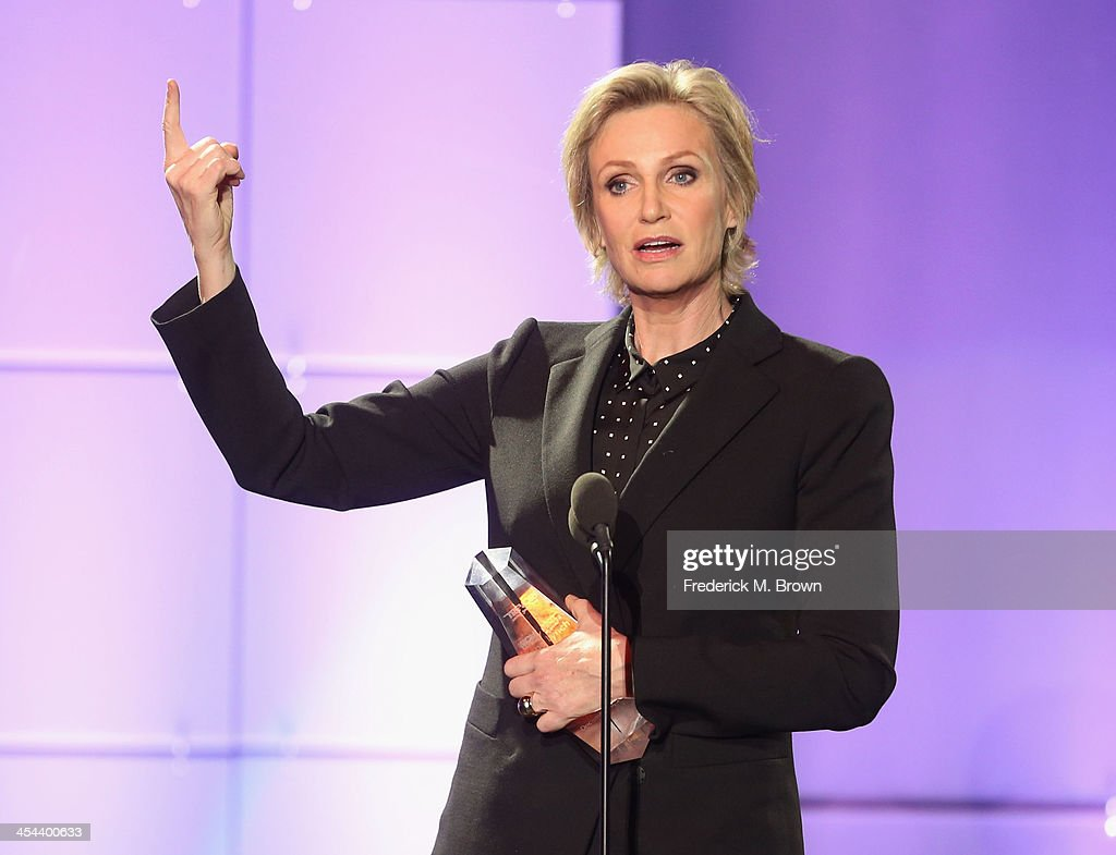 Honoree <a gi-track='captionPersonalityLinkClicked' href=/galleries/search?phrase=Jane+Lynch&family=editorial&specificpeople=663918 ng-click='$event.stopPropagation()'>Jane Lynch</a> accepts the Trevor Hero Award onstage at 'TrevorLIVE LA' honoring <a gi-track='captionPersonalityLinkClicked' href=/galleries/search?phrase=Jane+Lynch&family=editorial&specificpeople=663918 ng-click='$event.stopPropagation()'>Jane Lynch</a> and Toyota for the Trevor Project at Hollywood Palladium on December 8, 2013 in Hollywood, California.
