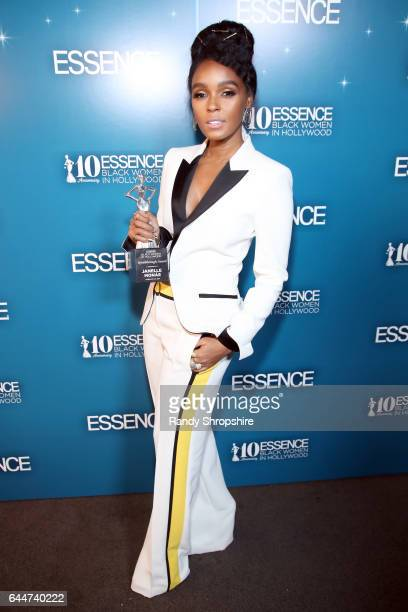 Honoree Janelle Monae poses with the 'Breakthrough Award' at Essence Black Women in Hollywood Awards at the Beverly Wilshire Four Seasons Hotel on...