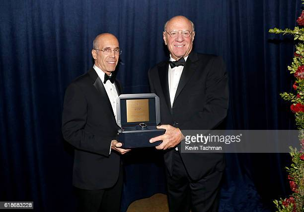 Honoree Jeffrey Katzenberg and Chairman of IAC Barry Diller attend amfAR's Inspiration Gala at Milk Studios on October 27 2016 in Hollywood California