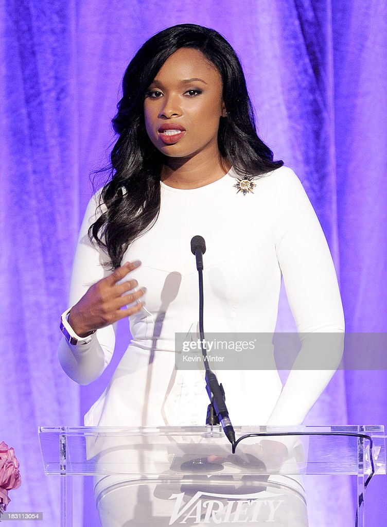 Honoree <a gi-track='captionPersonalityLinkClicked' href=/galleries/search?phrase=Jennifer+Hudson&family=editorial&specificpeople=234833 ng-click='$event.stopPropagation()'>Jennifer Hudson</a> accepts the Samsung Impact Award onstage during Variety's 5th Annual Power of Women event presented by Lifetime at the Beverly Wilshire Four Seasons Hotel on October 4, 2013 in Beverly Hills, California.