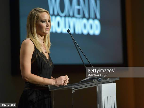 Honoree Jennifer Lawrence accepts award onstage at ELLE's 24th Annual Women in Hollywood Celebration presented by L'Oreal Paris Real Is Rare Real Is...