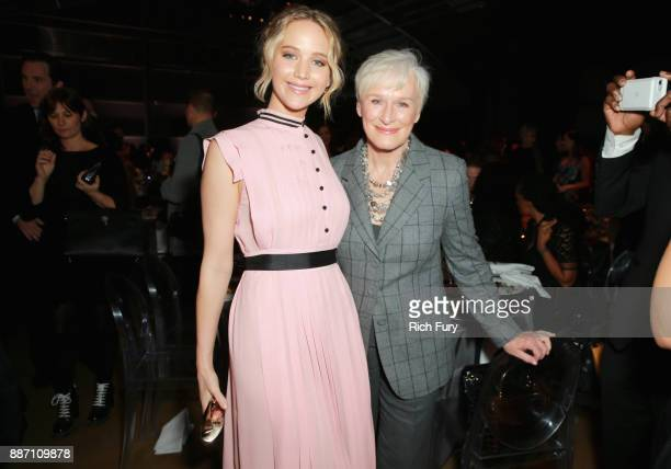 Honoree Jennifer Lawrence and Glenn Close attend The Hollywood Reporter's 2017 Women In Entertainment Breakfast at Milk Studios on December 6 2017 in...