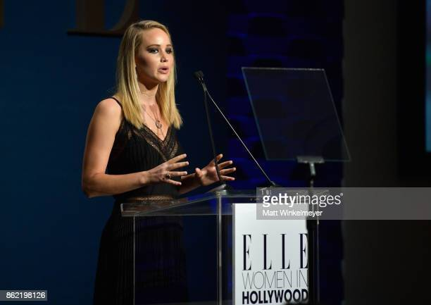 Honoree Jennifer Lawrence speaks onstage at ELLE's 24th Annual Women in Hollywood Celebration presented by L'Oreal Paris Real Is Rare Real Is A...