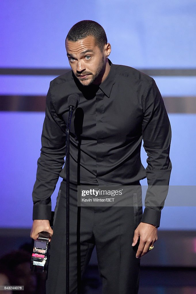Honoree <a gi-track='captionPersonalityLinkClicked' href=/galleries/search?phrase=Jesse+Williams+-+Actor&family=editorial&specificpeople=7189838 ng-click='$event.stopPropagation()'>Jesse Williams</a> accepts the Humanitarian Award onstage during the 2016 BET Awards at the Microsoft Theater on June 26, 2016 in Los Angeles, California.