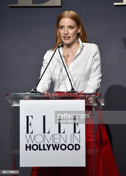 Honoree Jessica Chastain accepts award onstage at ELLE's 24th Annual Women in Hollywood Celebration presented by L'Oreal Paris Real Is Rare Real Is A...