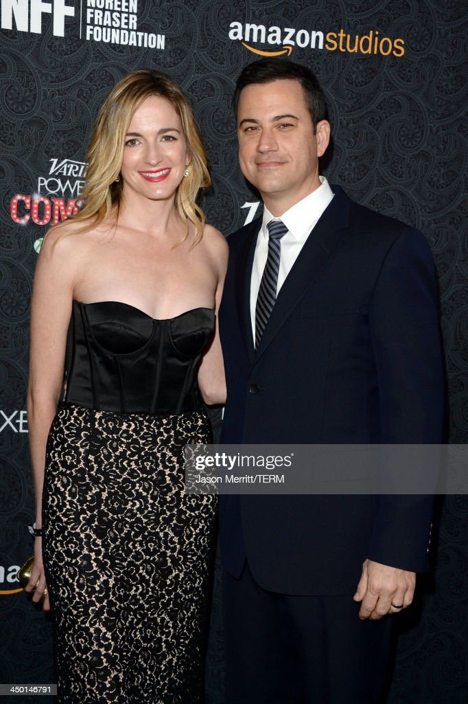 Honoree <a gi-track='captionPersonalityLinkClicked' href=/galleries/search?phrase=Jimmy+Kimmel&family=editorial&specificpeople=214115 ng-click='$event.stopPropagation()'>Jimmy Kimmel</a> (R) and writer <a gi-track='captionPersonalityLinkClicked' href=/galleries/search?phrase=Molly+McNearney&family=editorial&specificpeople=6829540 ng-click='$event.stopPropagation()'>Molly McNearney</a> attend Variety's 4th Annual Power of Comedy presented by Xbox One benefiting the Noreen Fraser Foundation at Avalon on November 16, 2013 in Hollywood, California.
