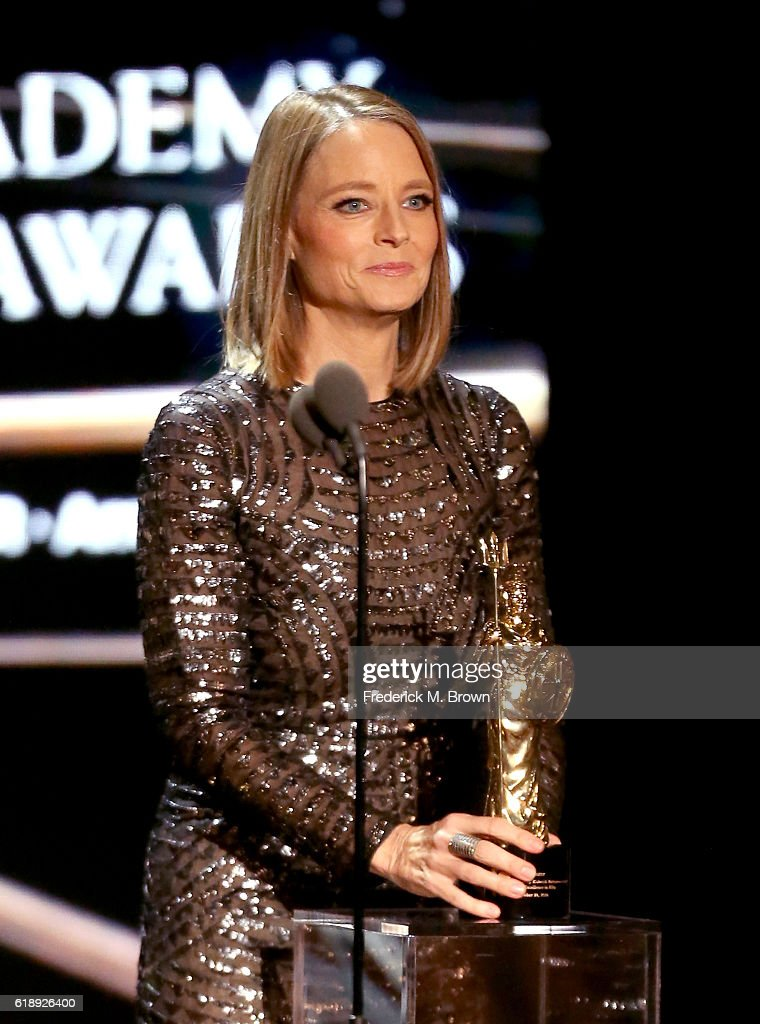 Honoree Jodie Foster accepts the Stanley Kubrick Britannia Award for Excellence in Film onstage during the 2016 AMD British Academy Britannia Awards presented by Jaguar Land Rover and American Airlines at The Beverly Hilton Hotel on October 28, 2016 in Beverly Hills, California.