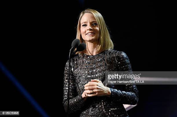 Honoree Jodie Foster accepts the Stanley Kubrick Britannia Award for Excellence in Film at the 2016 AMD British Academy Britannia Awards presented by...