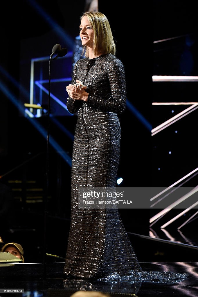 Honoree Jodie Foster accepts the Stanley Kubrick Britannia Award for Excellence in Film at the 2016 AMD British Academy Britannia Awards presented by Jaguar Land Rover and American Airlines at The Beverly Hilton Hotel on October 28, 2016 in Beverly Hills, California.