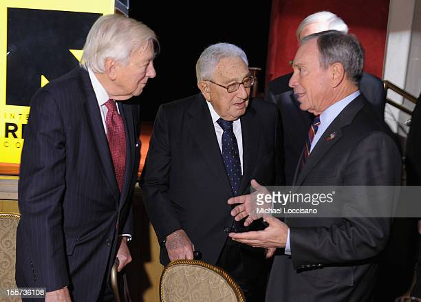 Honoree John C Whitehead Henry A Kissinger and Mayor Michael Bloomberg attend the annual Freedom Award Benefit hosted by the International Rescue...