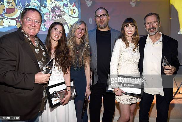 Honoree John Lasseter animators Brittney Lee Lorelay Bove Josh Cooley Daron Nefcy and honoree Edwin Catmull attend the Variety and Nickelodeon 10...