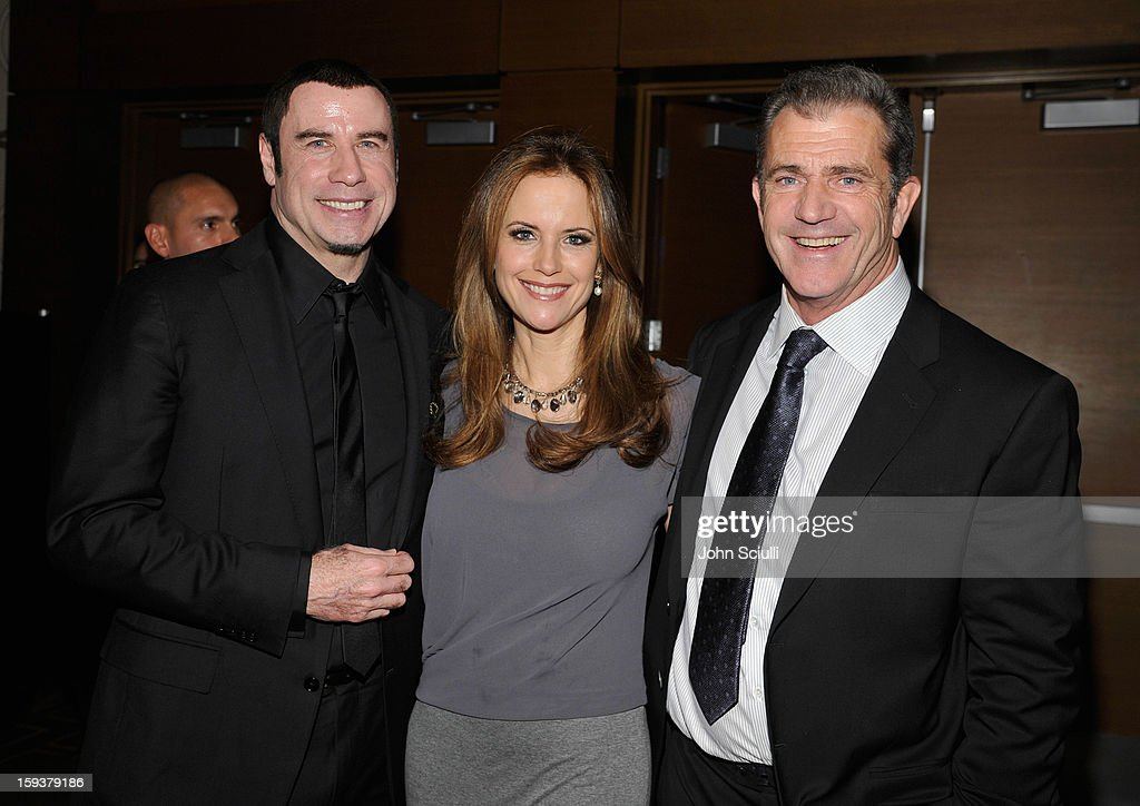 Honoree <a gi-track='captionPersonalityLinkClicked' href=/galleries/search?phrase=John+Travolta&family=editorial&specificpeople=178204 ng-click='$event.stopPropagation()'>John Travolta</a>, actors <a gi-track='captionPersonalityLinkClicked' href=/galleries/search?phrase=Kelly+Preston&family=editorial&specificpeople=159434 ng-click='$event.stopPropagation()'>Kelly Preston</a> and <a gi-track='captionPersonalityLinkClicked' href=/galleries/search?phrase=Mel+Gibson&family=editorial&specificpeople=201512 ng-click='$event.stopPropagation()'>Mel Gibson</a> attend the 2013 G'Day USA Los Angeles Black Tie Gala at JW Marriott Los Angeles at L.A. LIVE on January 12, 2013 in Los Angeles, California.