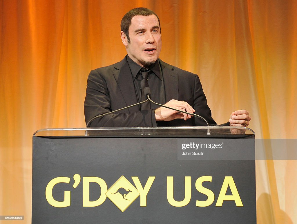 Honoree <a gi-track='captionPersonalityLinkClicked' href=/galleries/search?phrase=John+Travolta&family=editorial&specificpeople=178204 ng-click='$event.stopPropagation()'>John Travolta</a> speaks onstage after receiving the Goodwill Ambassador for Australia award during the 2013 G'Day USA Los Angeles Black Tie Gala at JW Marriott Los Angeles at L.A. LIVE on January 12, 2013 in Los Angeles, California.