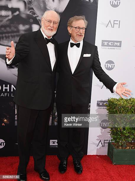 Honoree John Williams and director Steven Spielberg arrive at American Film Institute's 44th Life Achievement Award Gala Tribute to John Williams at...