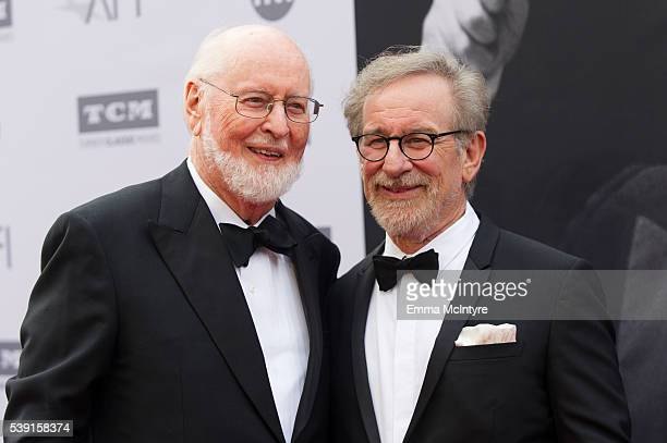 Honoree John Williams and director Steven Spielberg arrive at the 2016 American Film Institute Life Achievement Awards Honoring John Williams at...