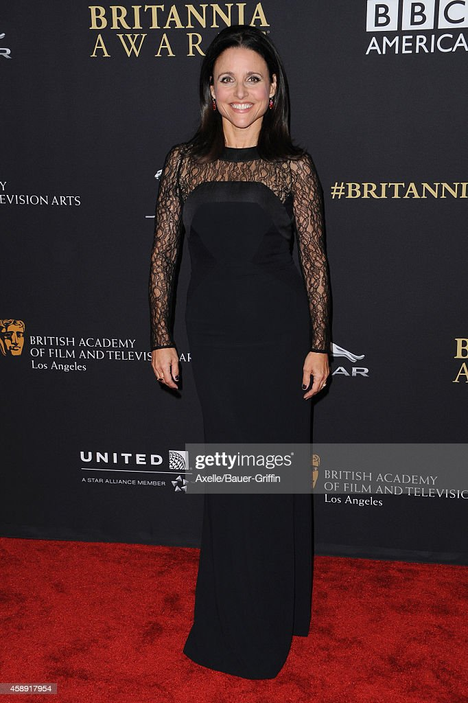 Honoree Julia Louis-Dreyfus arrives at the BAFTA Los Angeles Jaguar Britannia Awards at The Beverly Hilton Hotel on October 30, 2014 in Beverly Hills, California.