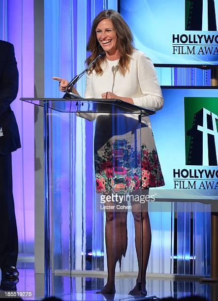 Honoree Julia Roberts speaks onstage during the 17th Annual Hollywood Film Awards at The Beverly Hilton Hotel on October 21 2013 in Beverly Hills...