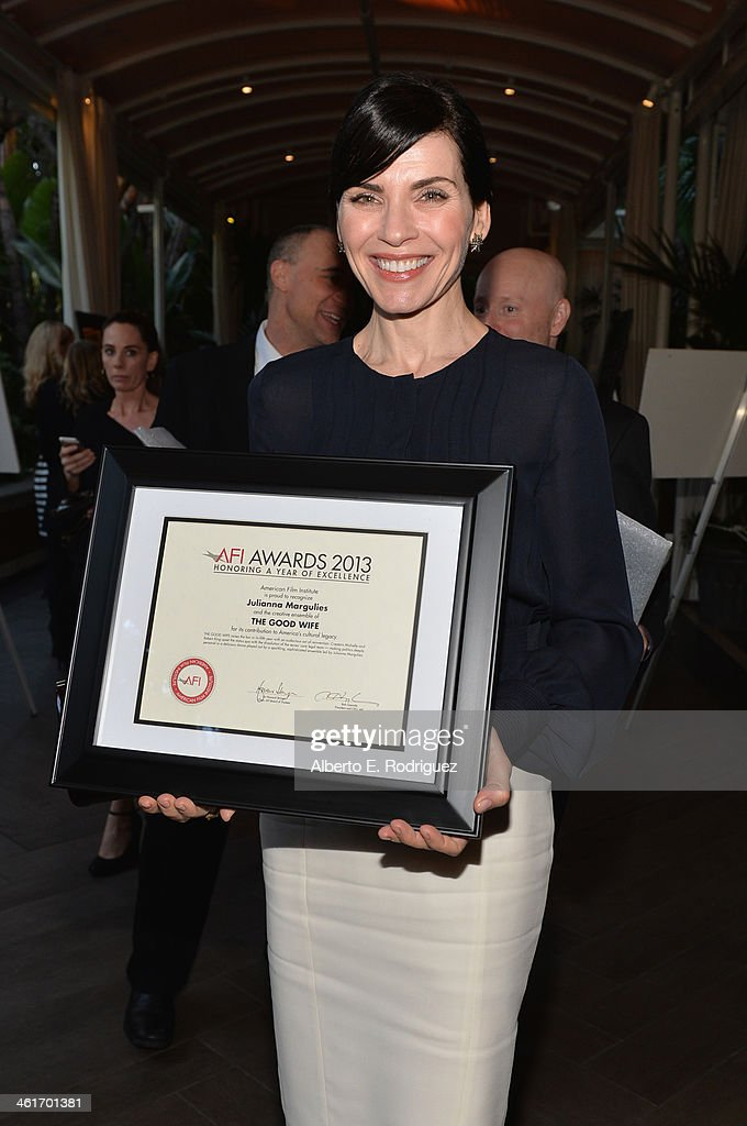 Honoree <a gi-track='captionPersonalityLinkClicked' href=/galleries/search?phrase=Julianna+Margulies&family=editorial&specificpeople=208994 ng-click='$event.stopPropagation()'>Julianna Margulies</a> attends the 14th annual AFI Awards Luncheon at the Four Seasons Hotel Beverly Hills on January 10, 2014 in Beverly Hills, California.
