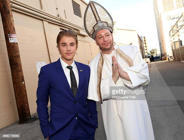 Honoree Justin Bieber and comedian Jeff Ross attend The Comedy Central Roast of Justin Bieber at Sony Pictures Studios on March 14 2015 in Los...