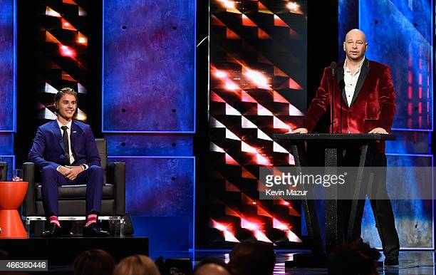 Honoree Justin Bieber and comedian Jeff Ross speak onstage at The Comedy Central Roast of Justin Bieber at Sony Pictures Studios on March 14 2015 in...