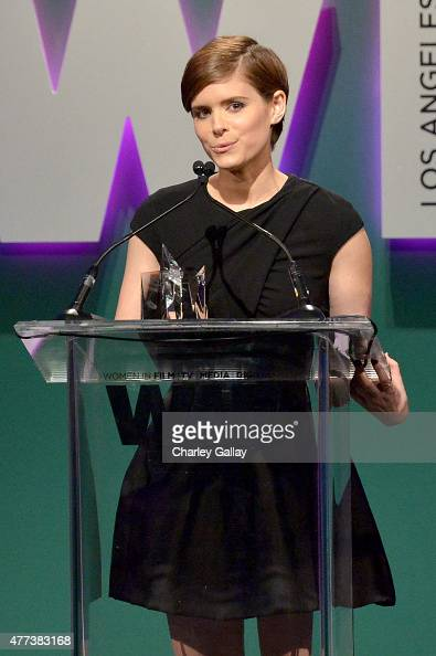 Honoree Kate Mara accepts the WIF Max Mara Face of the Future Award onstage during the Women In Film 2015 Crystal Lucy Awards Presented by Max Mara...