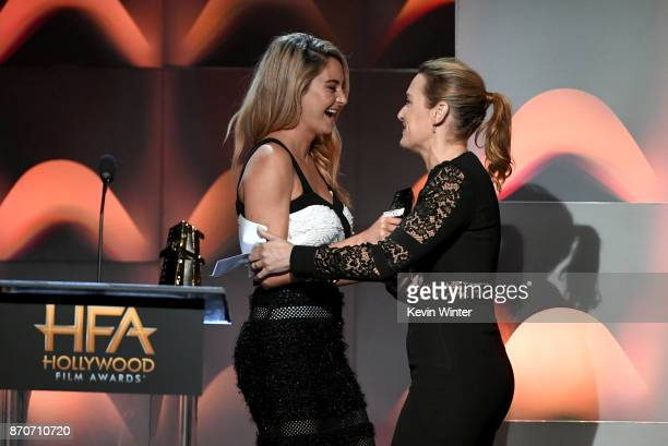 Honoree Kate Winslet accepts the Hollywood Actress Award for 'Wonder Wheel' from actor Shailene Woodley onstage during the 21st Annual Hollywood Film...