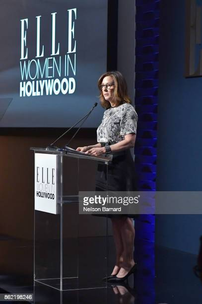 Honoree Kathleen Kennedy accepts award onstage at ELLE's 24th Annual Women in Hollywood Celebration presented by L'Oreal Paris Real Is Rare Real Is A...
