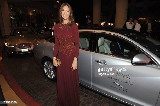 Honoree Kathryn Bigelow arrives to the 2013 BAFTA LA Jaguar Britannia Awards in a Jaguar XJ at The Beverly Hilton Hotel on November 9 2013 in Beverly...