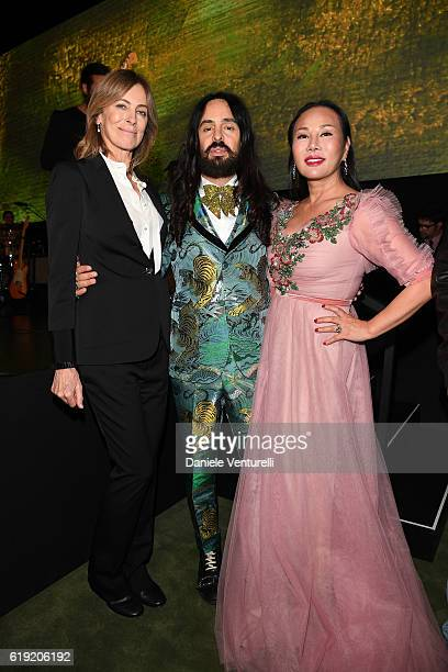 Honoree Kathryn Bigelow Gucci Creative Director Alessandro Michele and Gala CoChair Eva Chow wearing Gucci attend the 2016 LACMA Art Film Gala...