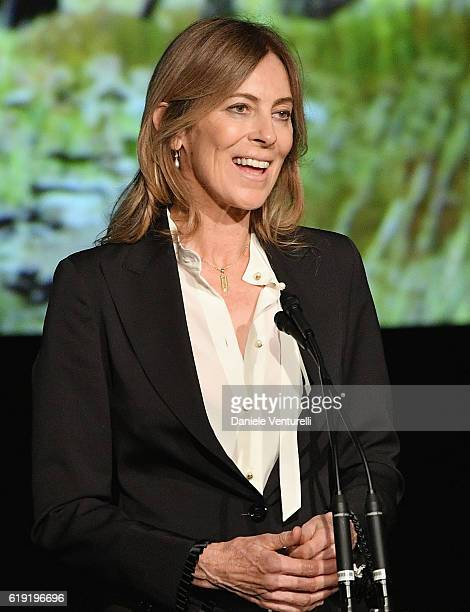 Honoree Kathryn Bigelow speaks onstage during the 2016 LACMA Art Film Gala Honoring Robert Irwin and Kathryn Bigelow Presented By Gucci at LACMA on...