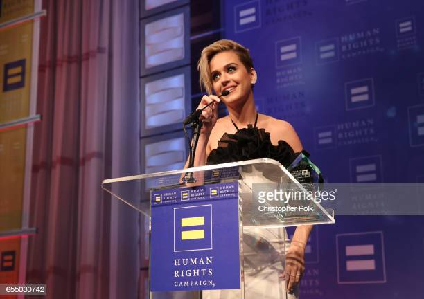 Honoree Katy Perry accepts the HRC National Equality Award onstage at The Human Rights Campaign 2017 Los Angeles Gala Dinner at JW Marriott Los...