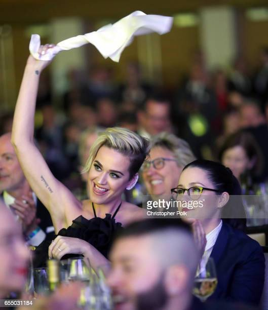 Honoree Katy Perry and actor Shannon Woodward at The Human Rights Campaign 2017 Los Angeles Gala Dinner at JW Marriott Los Angeles at LA LIVE on...