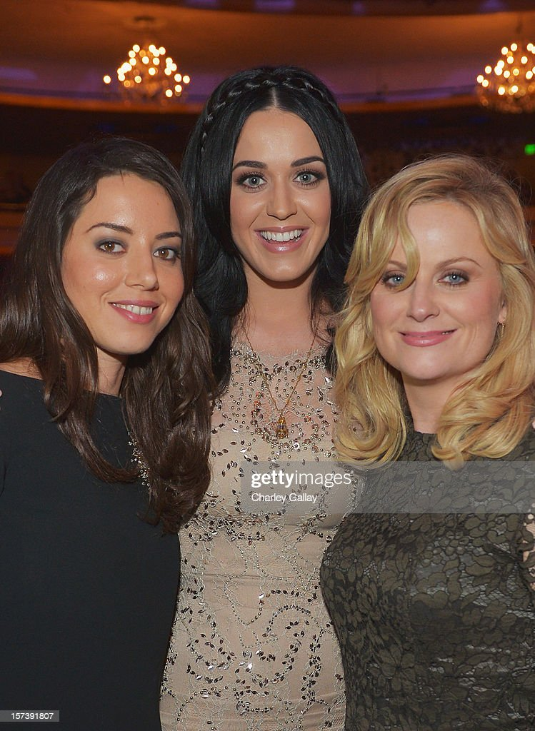 Honoree <a gi-track='captionPersonalityLinkClicked' href=/galleries/search?phrase=Katy+Perry&family=editorial&specificpeople=599558 ng-click='$event.stopPropagation()'>Katy Perry</a> (center) and actors <a gi-track='captionPersonalityLinkClicked' href=/galleries/search?phrase=Aubrey+Plaza&family=editorial&specificpeople=5299268 ng-click='$event.stopPropagation()'>Aubrey Plaza</a> (L) and <a gi-track='captionPersonalityLinkClicked' href=/galleries/search?phrase=Amy+Poehler&family=editorial&specificpeople=228430 ng-click='$event.stopPropagation()'>Amy Poehler</a> (R) attend 'Trevor Live' honoring <a gi-track='captionPersonalityLinkClicked' href=/galleries/search?phrase=Katy+Perry&family=editorial&specificpeople=599558 ng-click='$event.stopPropagation()'>Katy Perry</a> and Audi of America for The Trevor Project held at The Hollywood Palladium on December 2, 2012 in Los Angeles, California.