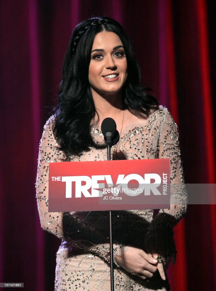 Honoree <a gi-track='captionPersonalityLinkClicked' href=/galleries/search?phrase=Katy+Perry&family=editorial&specificpeople=599558 ng-click='$event.stopPropagation()'>Katy Perry</a> on stage at 'Trevor Live' honoring <a gi-track='captionPersonalityLinkClicked' href=/galleries/search?phrase=Katy+Perry&family=editorial&specificpeople=599558 ng-click='$event.stopPropagation()'>Katy Perry</a> and Audi of America for The Trevor Project held at The Hollywood Palladium on December 2, 2012 in Los Angeles, California.