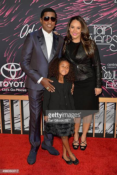 Honoree Kenneth 'Babyface' Edmonds Peyton Edmonds and actress Nicole Edmonds attend the 2015 Soul Train Music Awards at the Orleans Arena on November...