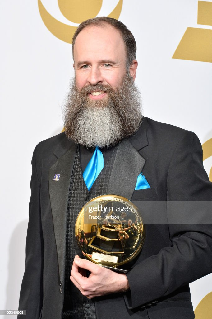 Honoree Kent Knappenberger, recipient of the Music Educator Award, poses in the press room during the 56th GRAMMY Awards at Staples Center on January 26, 2014 in Los Angeles, California.