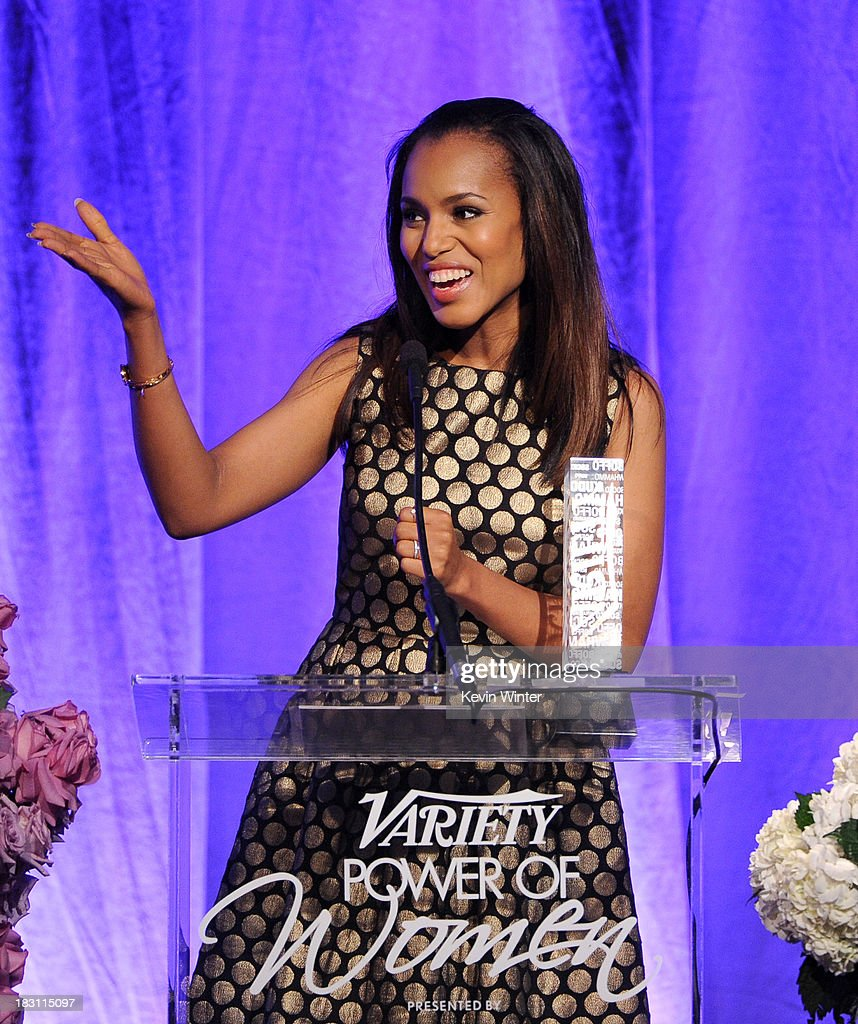 Honoree <a gi-track='captionPersonalityLinkClicked' href=/galleries/search?phrase=Kerry+Washington&family=editorial&specificpeople=201534 ng-click='$event.stopPropagation()'>Kerry Washington</a> accepts an award onstage during Variety's 5th Annual Power of Women event presented by Lifetime at the Beverly Wilshire Four Seasons Hotel on October 4, 2013 in Beverly Hills, California.