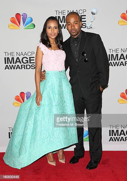 Honoree Kerry Washington and actor Columbus Short pose in the press room during the 44th NAACP Image Awards at The Shrine Auditorium on February 1...
