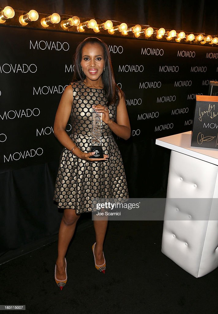 Honoree <a gi-track='captionPersonalityLinkClicked' href=/galleries/search?phrase=Kerry+Washington&family=editorial&specificpeople=201534 ng-click='$event.stopPropagation()'>Kerry Washington</a> poses with her award during Variety's 5th Annual Power of Women event presented by Lifetime at the Beverly Wilshire Four Seasons Hotel on October 4, 2013 in Beverly Hills, California.