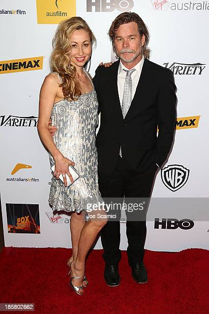 Honoree Kieran DarcySmith of BlueTongue Films and actress/writer Felicty Price arrives at the Australians in film benefit dinner at InterContinental...