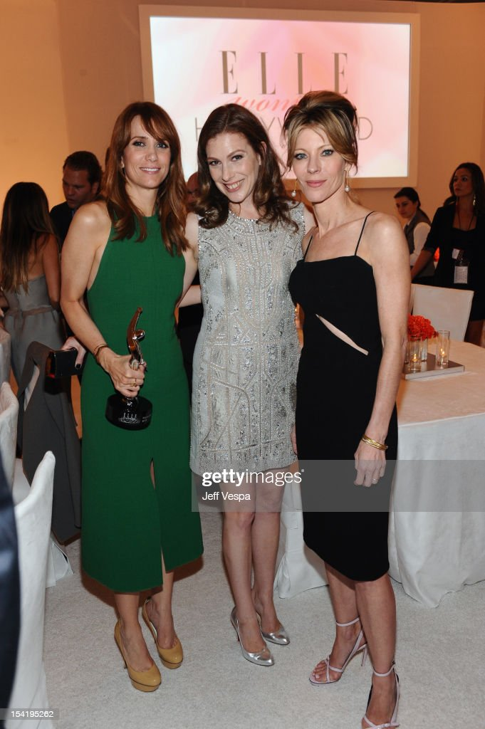 Honoree <a gi-track='captionPersonalityLinkClicked' href=/galleries/search?phrase=Kristen+Wiig&family=editorial&specificpeople=4029391 ng-click='$event.stopPropagation()'>Kristen Wiig</a>, ELLE entertainment director Jennifer Weisel and ELLE editor-in-chief <a gi-track='captionPersonalityLinkClicked' href=/galleries/search?phrase=Robbie+Myers&family=editorial&specificpeople=2260300 ng-click='$event.stopPropagation()'>Robbie Myers</a> attend ELLE's 19th Annual Women In Hollywood Celebration at the Four Seasons Hotel on October 15, 2012 in Beverly Hills, California.