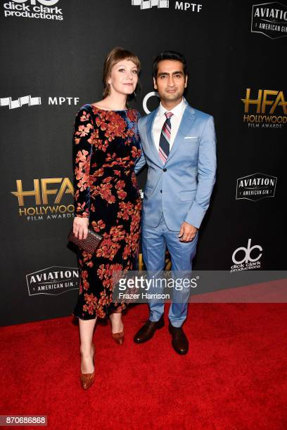 Honoree Kumail Nanjiani and writer Emily V Gordon attend the 21st Annual Hollywood Film Awards at The Beverly Hilton Hotel on November 5 2017 in...