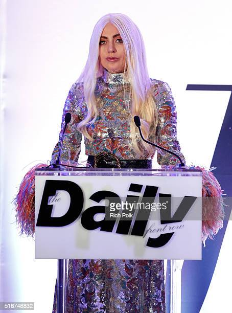 COVERAGE Honoree Lady Gaga speaks onstage during The Daily Front Row 'Fashion Los Angeles Awards' 2016 at Sunset Tower Hotel on March 20 2016 in West...