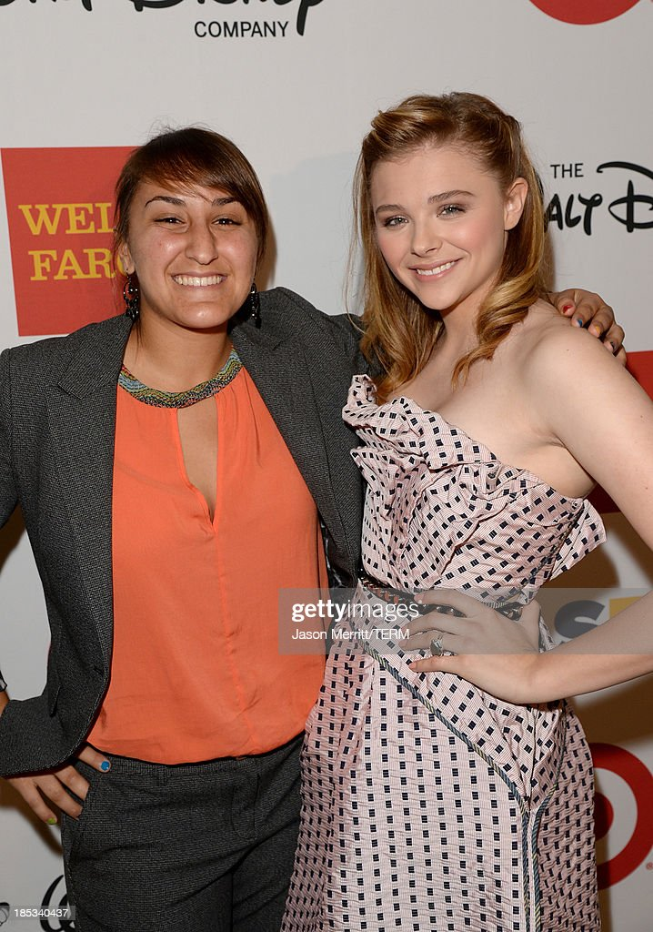 Honoree Laila Al-Shamma (L) and actress Chloe Grace Moretz attend the 9th Annual GLSEN Respect Awards at Beverly Hills Hotel on October 18, 2013 in Beverly Hills, California.