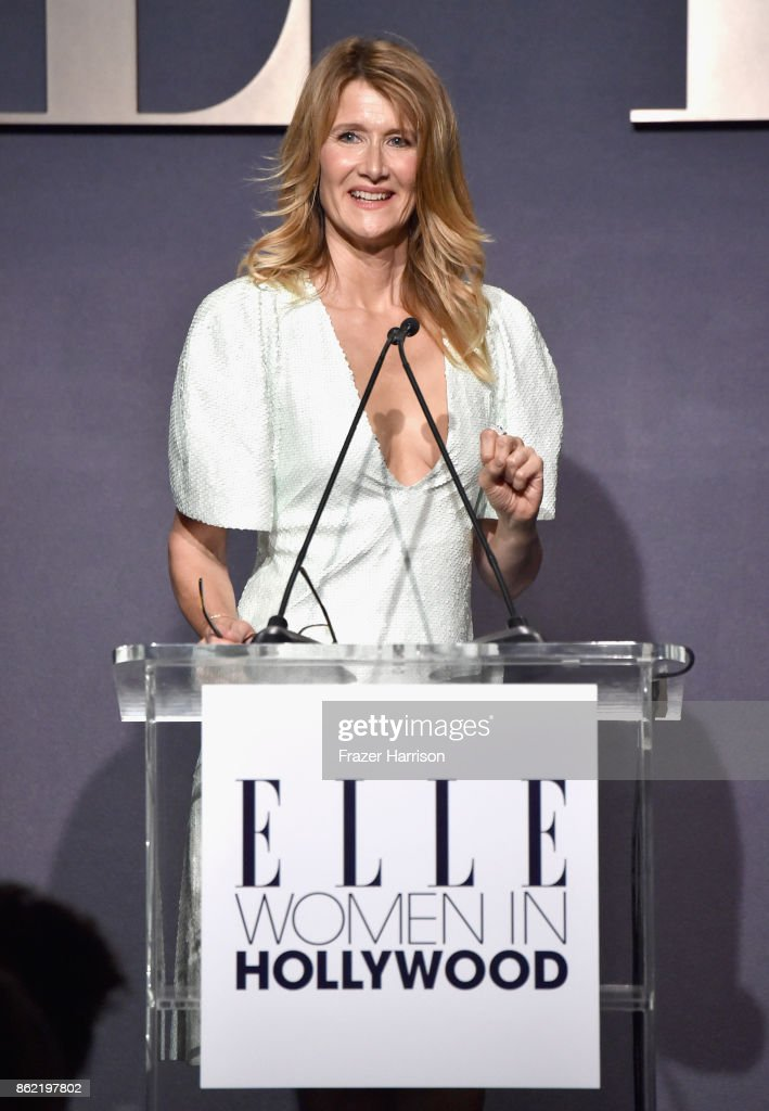 Honoree Laura Dern accepts award onstage at ELLE's 24th Annual Women in Hollywood Celebration presented by L'Oreal Paris, Real Is Rare, Real Is A Diamond and CALVIN KLEIN at Four Seasons Hotel Los Angeles at Beverly Hills on October 16, 2017 in Los Angeles, California.