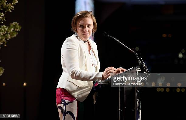 Honoree Lena Dunham accepts an award onstage during the 8th Annual Blossom Ball benefiting the Endometriosis Foundation of America hosted by EFA...
