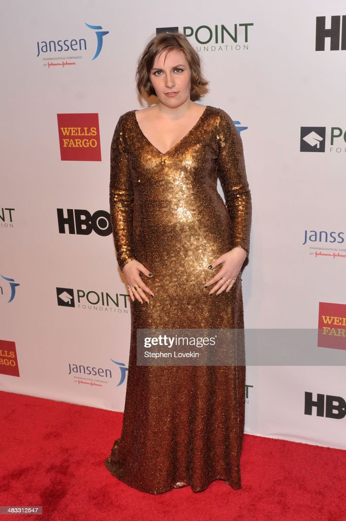 Honoree Lena Dunham attends the Point Honors New York gala at New York Public Library on April 7 2014 in New York City