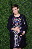 Honoree Lena Dunham poses backstage at Variety's Power of Women New York presented by Lifetime at Cipriani 42nd Street on April 24 2015 in New York...