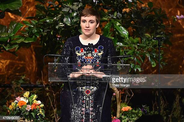 Honoree Lena Dunham speaks onstage at Variety's Power of Women New York presented by Lifetime at Cipriani 42nd Street on April 24 2015 in New York...