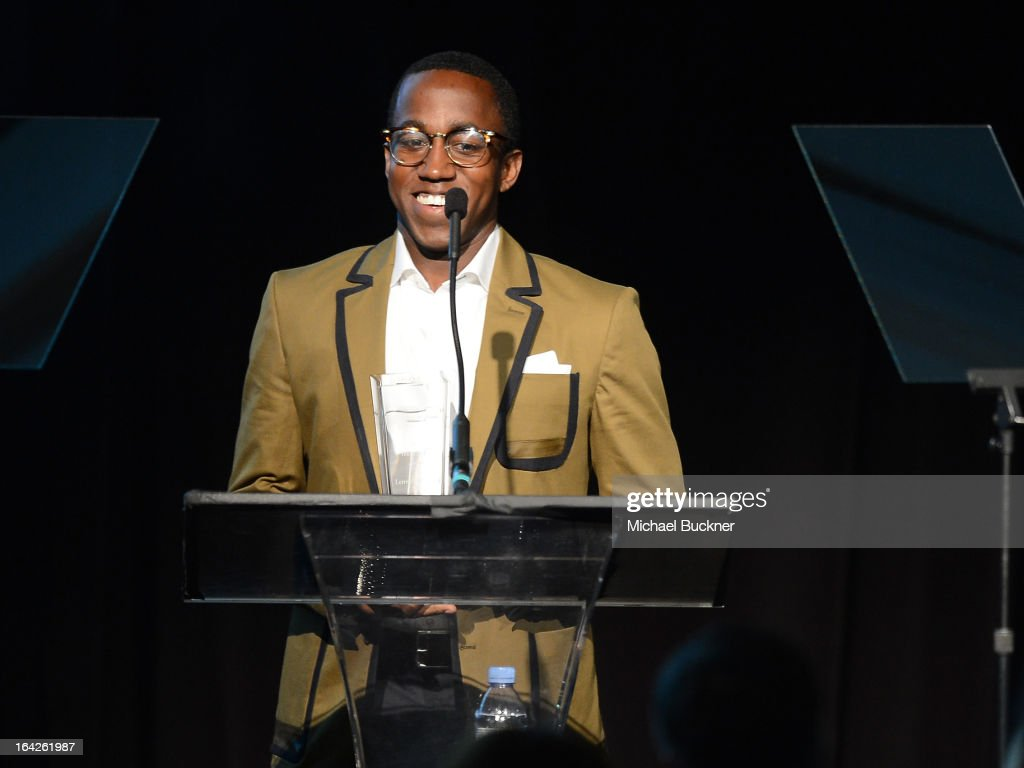Honoree Lenworth Poyser speaks at the 'Evening Benefitting The L.A. Gay & Lesbian Center Honoring Amy Pascal and Ralph Rucci' at the Beverly Wilshire Four Seasons Hotel on March 21, 2013 in Beverly Hills, California.